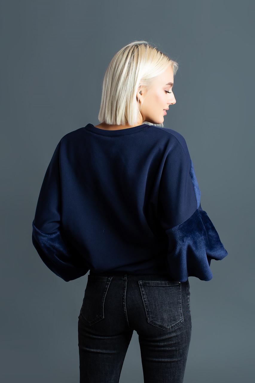 745a3eaf0634 Темно-синий теплый свитшот (толстовка) в стиле oversize с меховыми вставками
