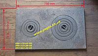 Плита чугунная двухкомфорочная (450х750 мм) печи, мангал, барбекю, грубу, фото 1