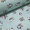 Ткань польская хлопковая, панды с золотом (глиттером) на мятном