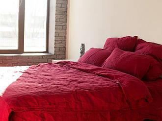 Комплект постільної білизни Komfort з Льону БОРДО №511 двоспальний