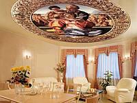 Фотопечать на натяжных потолках в гостинной