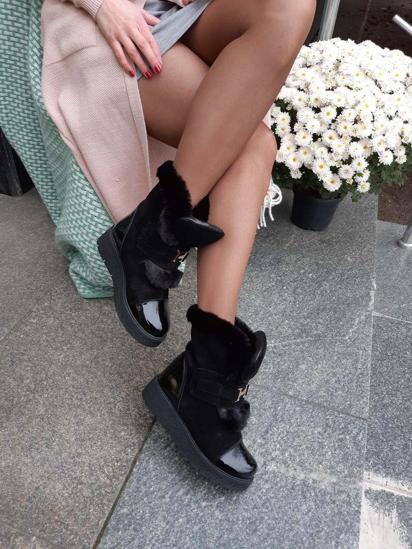Зимние женские ботинки из натурального материала