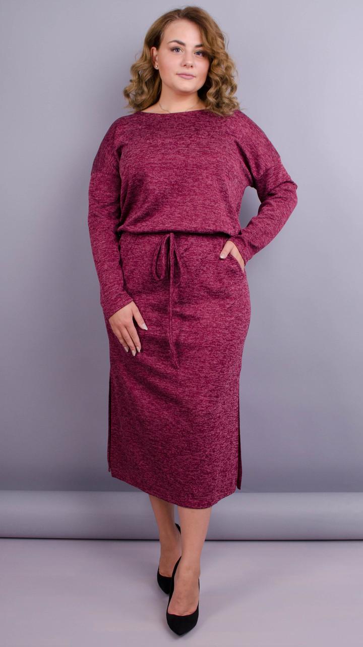 Демисезонное платье для пышных дам. серый. большие размеры: 50-64