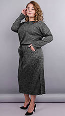 Демисезонное платье для пышных дам. серый. большие размеры: 50-64, фото 2