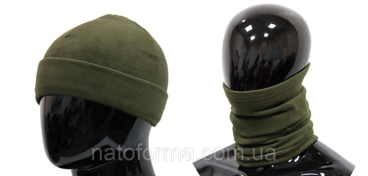 Комплект бафф + шапка, микрофлис, олива