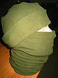 Комплект бафф + шапка, микрофлис, олива, фото 2