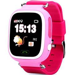 Детские умные смарт часы Q90S/100 с GPS и кнопкой SOS розово-фиолетовые