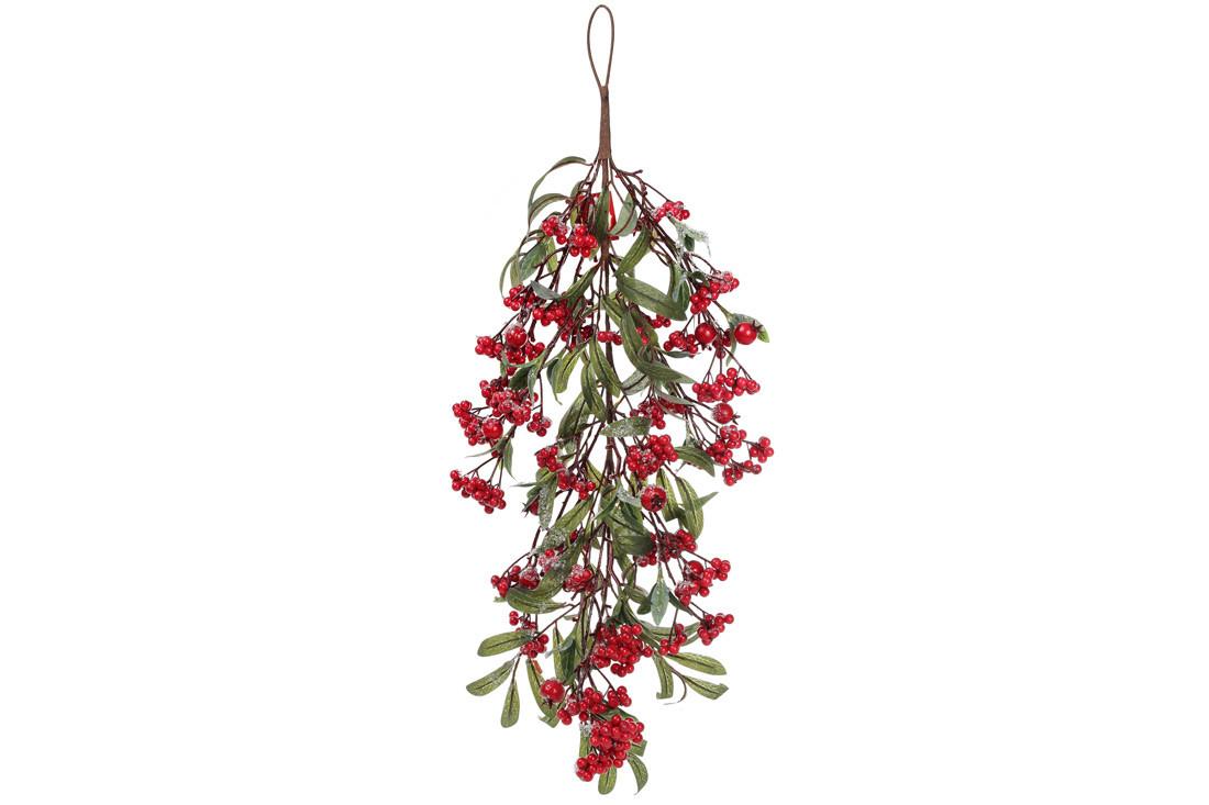 Т-образная декоративная ветка с красными ягодами на подвесе 70см (789-137)