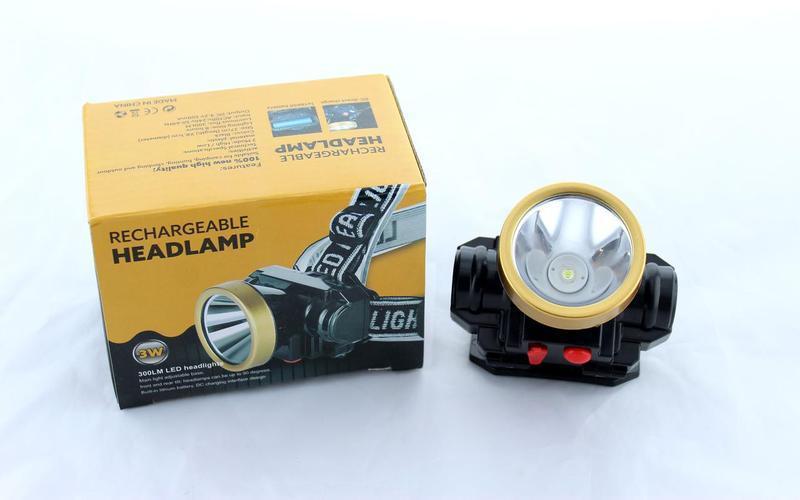 Светодиодный аккумуляторный фонарик на лоб0509-1 / налобный фонарь