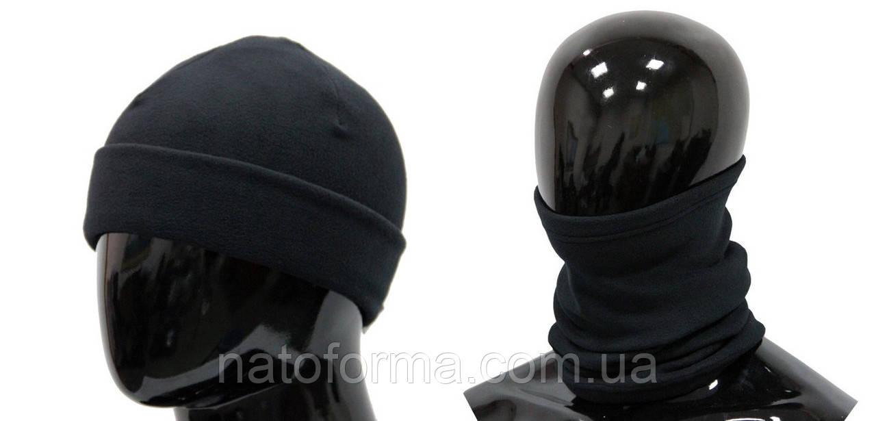 Комплект бафф + шапка, микрофлис, черный
