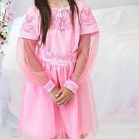 Платье детское с украинской вышивкой и фатиновой юбкой
