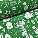 Ткань новогодняя хлопковая, белая Рождественская история на зеленом, фото 2