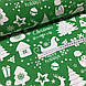 Ткань новогодняя хлопковая, белая Рождественская история на зеленом, фото 3
