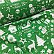 Ткань новогодняя хлопковая, белая Рождественская история на зеленом, фото 4