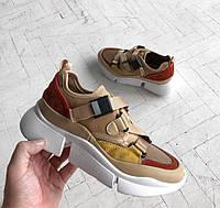 """Женские кроссовки Chloe Sonnie low Sneaker """"Beige"""". Живое фото. Реплика ААА+"""