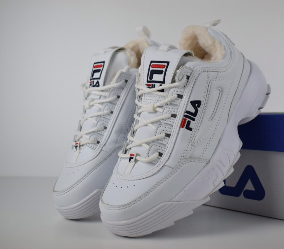 Зимние женские кроссовки Fila Disruptor 2 белые с мехом. Живое фото  (Реплика ААА+) 628f01bb2ec5b
