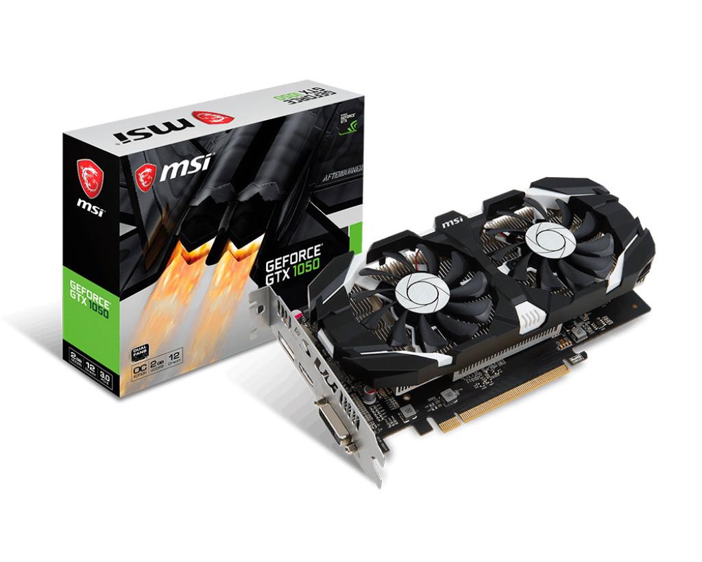 Видеокарта GeForce GTX1050 OC, MSI, 2Gb DDR5, 128-bit, DVI/HDMI/DP, 1518/7008 MHz (GTX 1050 2GT OCV1)