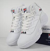 Зимние женские кроссовки Fila MB Mesh white с мехом. Живое фото (Реплика ААА+), фото 1