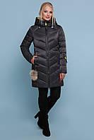 Стильный женский пуховик-куртка выше колен в спортивном стиле 18-71 черный