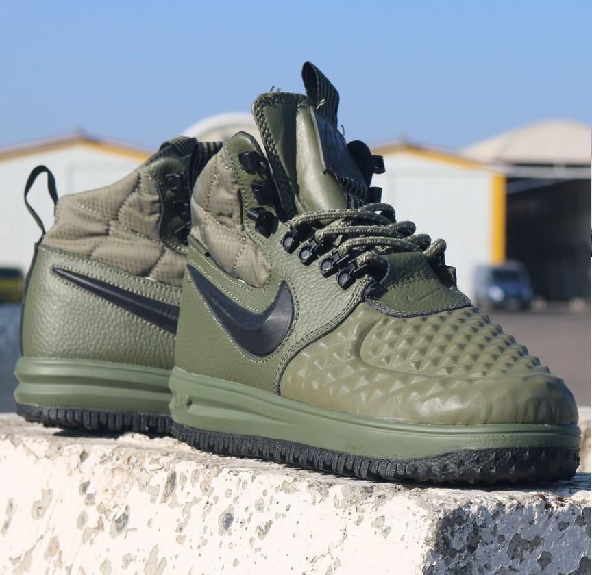 Мужские кроссовки Nike Lunar Force 1 Duckboot хаки теплые. Живое фото.  (Реплика ААА+) 544f39dd494