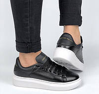 Жіночі кросівки Adidas Alexander McQueen Oversized Leather Black White. Живе фото (Репліка ААА+), фото 1