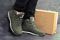 Мужские ботинки Timberland зимние кожаные тимберленды на меху городские под джинсы (зеленые), ТОП-реплика, фото 1