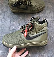 06d89069 Мужские зимние кроссовки Nike Lunar Force 1 Duckboot haki теплые термо.  Живое фото. (