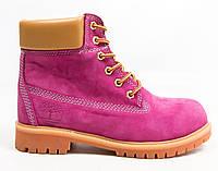 Зимові жіночі черевики Timberland 6 inch pink beige (Репліка ААА+), фото 1