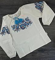 Блуза для девочек Вышиванка Молочный Лен Бэмби Украина
