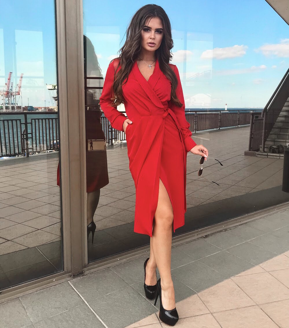 66e492738cd1162 Платье запах красное, арт.1023, цена 685 грн., купить в Киеве — Prom ...