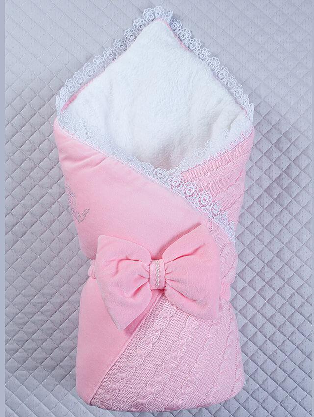 Конверт -плед на выписку Дуэт розовый