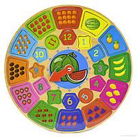 Деревянная игрушка Часы - логическая рамка с вкладышами