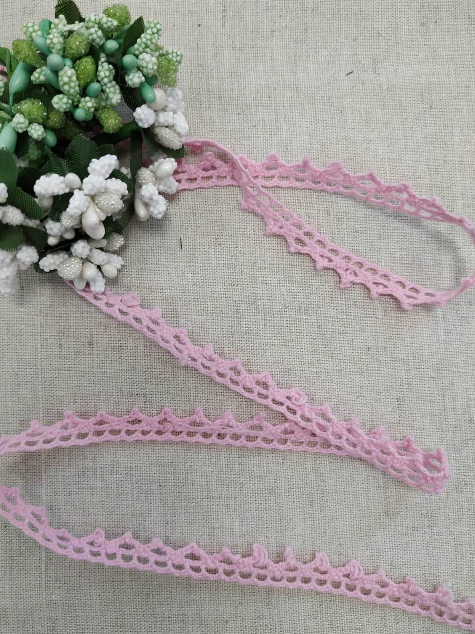 М002 Мереживо рожеве натуральне 1 см.