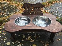 Кормушка + поилка из дерева с двумя мисками для собаки