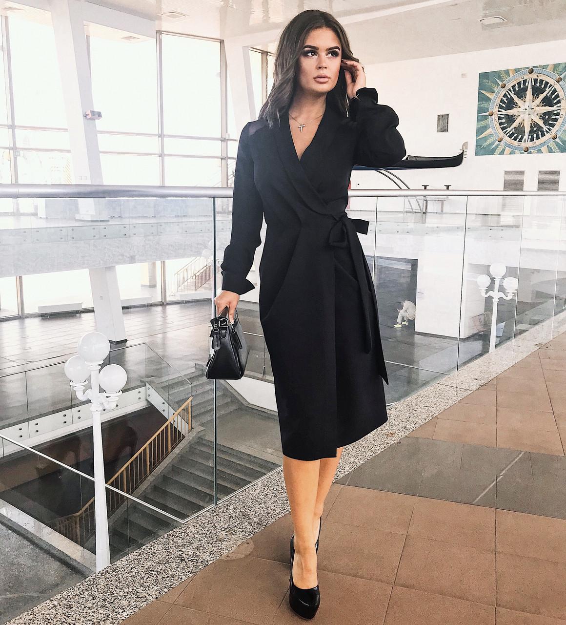 Платье запах черное, арт.1023