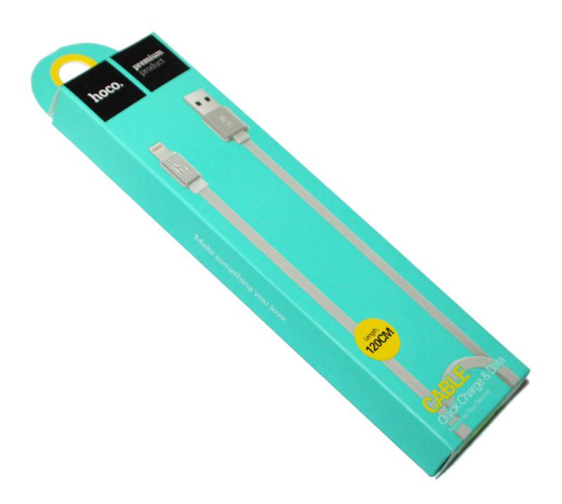 Кабель USB  Lightning, Hoco Waffle Flat 1.2 м 2.1A UPL18, White, шнур для зарядки