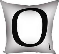 Подушка з принтом O біла (3P_LP030)
