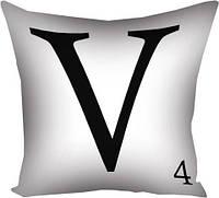 Подушка с принтом V белая (3P_LP029)