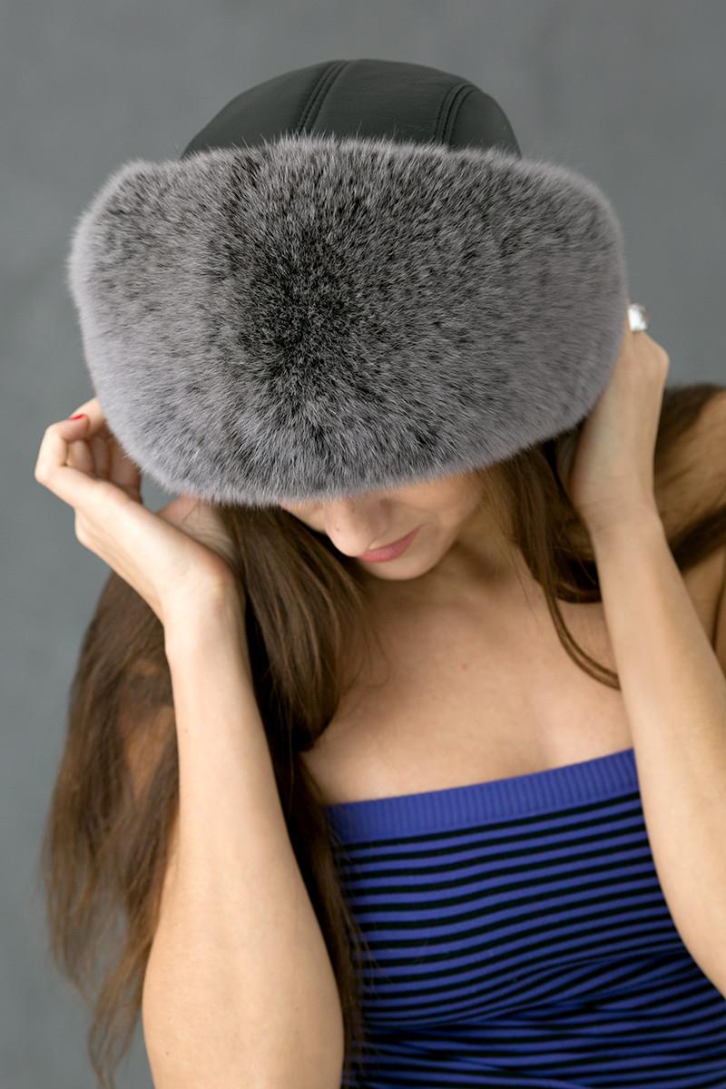 Зимняя шапка из кожи и меха Vika-111  Серый