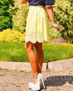 Женская летняя юбка из бенгалина (0896-0895 svt) Св.желтый.