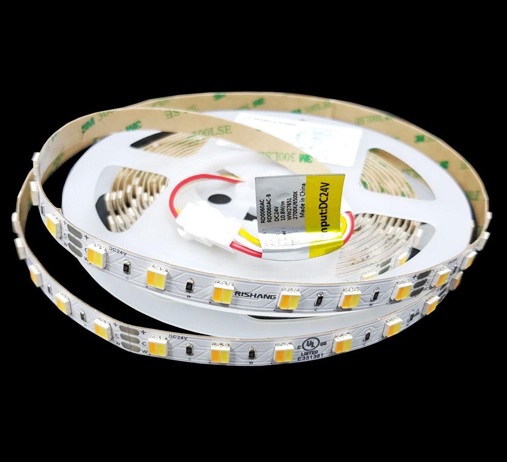 Світлодіодна стрічка тепло біла(3000К)+холодно біла(6500К) 5050-60-IP20-WW/CWd-12-24 RD0060AC-B Рішанг 10900