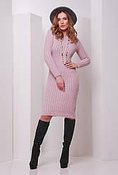 f25ec2d8207e Модное вязаное теплое платье до колен с длинными рукавами в косичку цвет  пудра