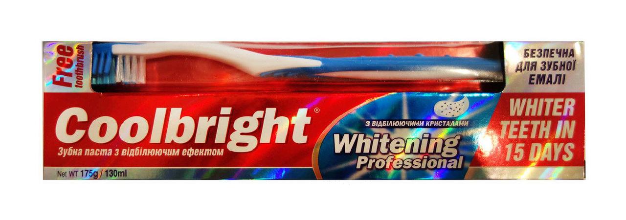 Зубная паста Coolbright Whitening Professional с отбеливающим эффектом - 130 мл. + Зубная щетка