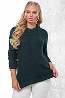 Теплый женский нарядный вязаный свитер с узорами большого размера темно-зеленый