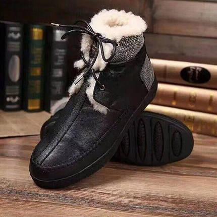 Мужские зимние ботинки UGG  на шнурках кожаные/черные , фото 2