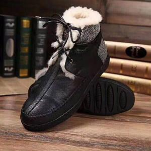 Мужские зимние ботинки UGG  на шнурках кожаные/черные