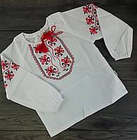Блуза для девочек Вышиванка  Белый Терикотон Бэмби Украина 3 года, 104 см