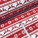 Тканина бавовняна новорічна, олені і сніжинки на червоній і білій смужці, фото 2