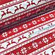 Тканина бавовняна новорічна, олені і сніжинки на червоній і білій смужці, фото 3