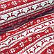 Тканина бавовняна новорічна, олені і сніжинки на червоній і білій смужці, фото 4